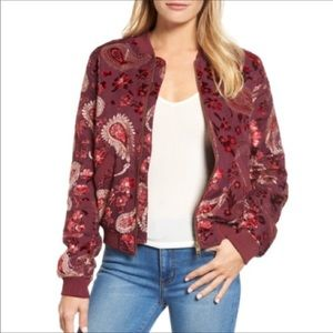 Kas New York Ashlyn Velvet Burnout Bomber Jacket